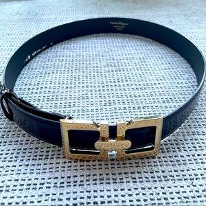 🆕 SALVATORE FERRAGAMO gold brown leather belt 80